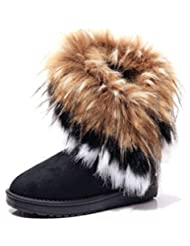 DADAWEN Women's Winter Warm High Long Snow Ankle Boots Faux Fox Rabbit Fur Tassel Shoes