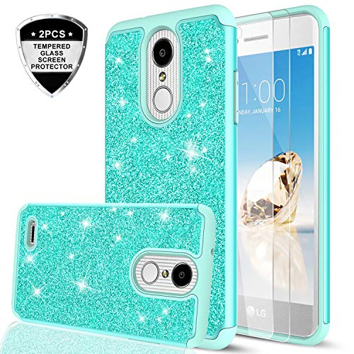 LG Aristo 2 Plus/Aristo 2/ Tribute Dynasty/Zone 4/ Fortune 2/ Risio 3/ Rebel 3 / Rebel 4/ Phoenix 4/ K8 Plus Case w/ 2pcs Tempered Glass Screen Protector, LeYi Glitter Girly Case for LG K8 2018 Mint