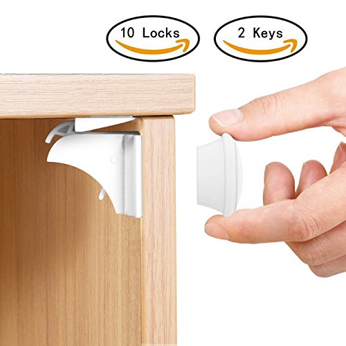 Baby Proofing Magnetic Cabinet Lock Set SHERRY Child Safety Locks Kids Toddler Proof Hidden Cupboard Drawer Locks Magnetic Locks System Replacement Equipment No Drill Products (2 KEYS & 10 LOCKS)