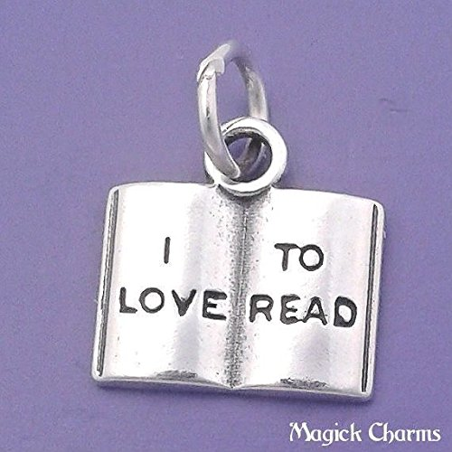 925 Sterling Silver I Love to Read Open Book Novel Reading School Charm Jewelry Making Supply, Pendant, Charms, Bracelet, DIY Crafting by Wholesale Charms