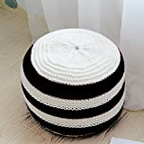 YEVEM Pouf Ottoman Round Hand Knitted Cable Style Cotton Dori Ottoman Braided Rope Floor Ottomans Comfortable Seat Footstool Multi-color (Black)