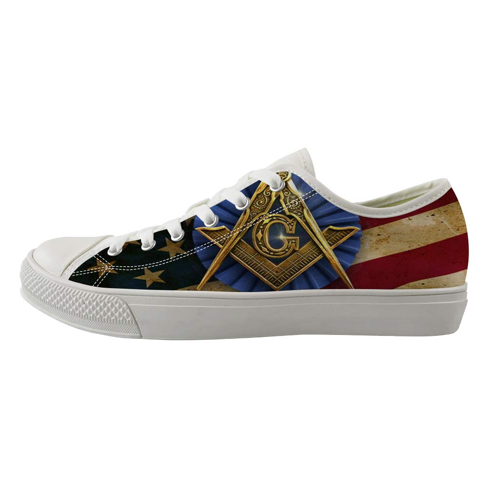 Classic Sneakers Unisex Adults Low-Top Trainers Skate Shoes Freemason American Flag