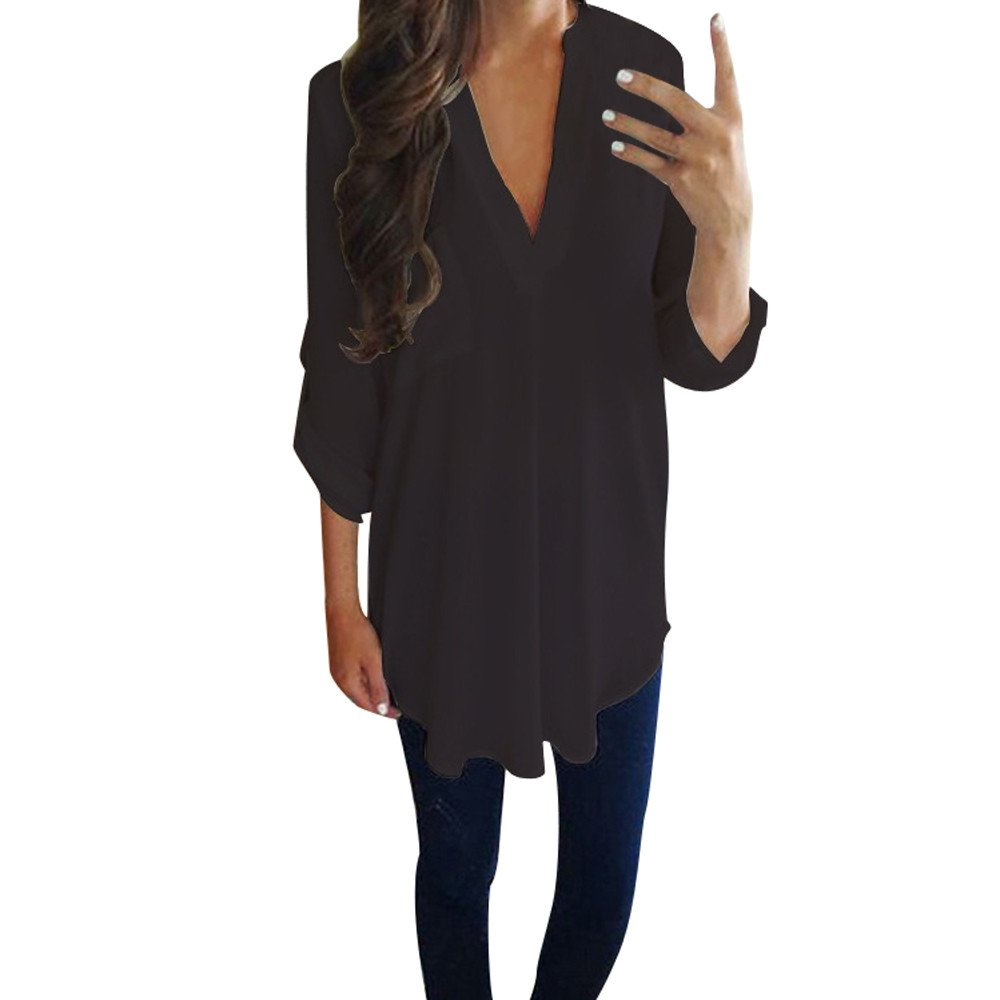 Blouse For Women-Clearance Sale, Farjing Casual Chiffon Long Sleeve V Neck Shirt T-Shirt Blouse(US16/4XL,Black)