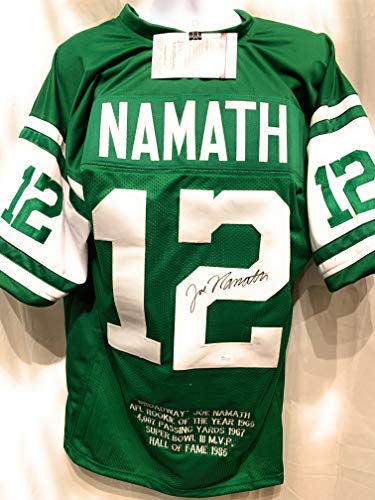 79d52f46ecf Joe Namath New York Jets Signed Autograph Green Custom Embroidered Stat Jersey  JSA Witnessed Certified
