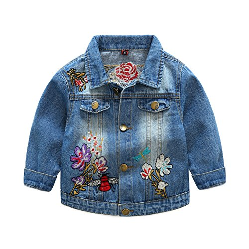 Top and Top Kids Toddler Baby Girls Jeans Denim Jacket Coat with Flower Butterfly Embroidery Outwear Cowboy Overcoat (130/6-7 years) Butterfly Jean Jacket