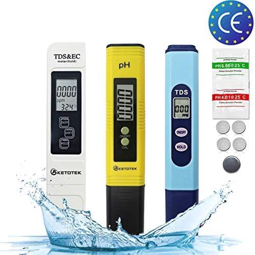 KETOTEK TDS&EC Meter TDS Medidor de pH Kits de Pluma Medidor de Calidad de Agua Digital 3 en 1 Sets ATC 0-14PH 0-9990PPM 0-9999μs/cm Medida Portátil Hidroponia PH TDS ...