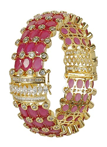 MUCH-MORE Brilliant Design Diamond Swarovski Gold Plated Elements Indian Bollywood Bangles/Bracelets Cubic-Zirconia Jewelry (DB-352, 2.6)