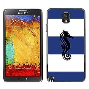For SAMSUNG Galaxy Note 3 III / N9000 / N9005 Case , Sailor Stripes Blue White - Diseño Patrón Teléfono Caso Cubierta Case Bumper Duro Protección Case Cover Funda