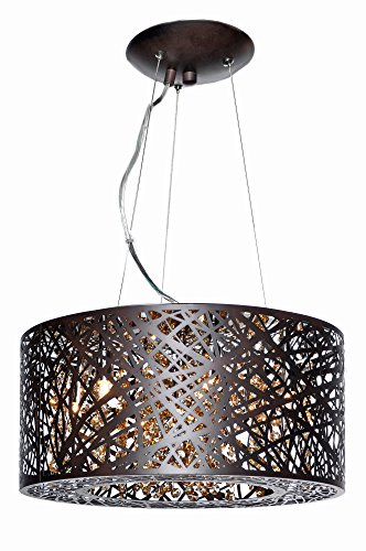 ET2 E21309-10BZ Inca 7-Light Multi-Light Pendant, Bronze Finish, Cognac Glass, G9 Xenon Bulb, 20W Max., Dry Safety Rated, 2900K Color Temp., Standard Dimmable, Acrylic Shade Material, 65 Rated (Dry Cognac)