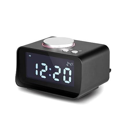 Espeedy Radio Despertador Digital,Reloj despertador multifunción con altavoz de radio FM pantalla LCD reloj