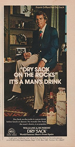 *PRINT AD* 1975 DRY SACK SHERRY with FRANK GIFFORD