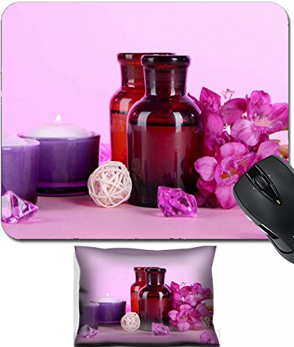 MSD Mouse Wrist Rest and Small Mousepad Set, 2pc Wrist Support design 19338125 Spa oil and freesia on purple background