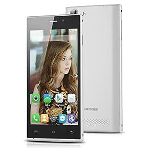DOOGEE TURBO Mini F1 4.5 pulgadas IPS OGS QHD pantalla 4G Smartphone HotKnot Android 4.4 MTK6732 Quad Core Mobile Phone Dual SIM OTA RAM 1G 8G ROM OTG GPS de 3 dedos de pantalla inteligente Gestos Celular WIFI Blanco