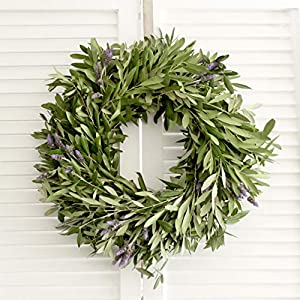 "Fresh Olive Branch & Lavender Wreath - 20"" (Free Shipping) 10"