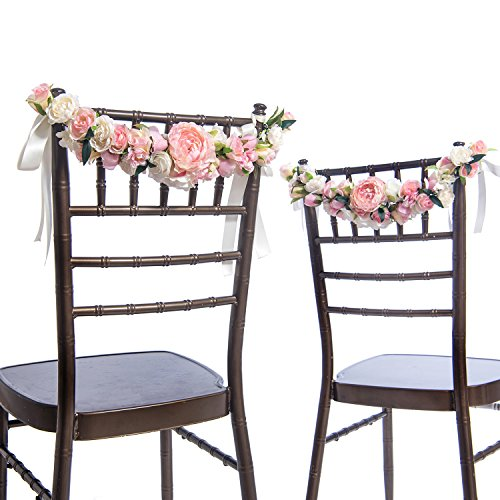 Arch Back Chair - Ling's moment Nearly Natural Rose and Peony Spring Blooms Chair Banners Wedding Arch Wedding Chair Decoration Centerpiece Silk Flower Arrangement, Mixed Flower(Pack of 2)