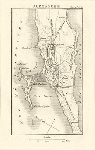 Amazon Com Town Plan Of Alexandria Egypt 1818 Old Map