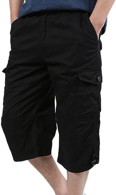 JSY Men Baggy Cotton Beach Board Shorts Elastic Waist Summer Shorts Pants