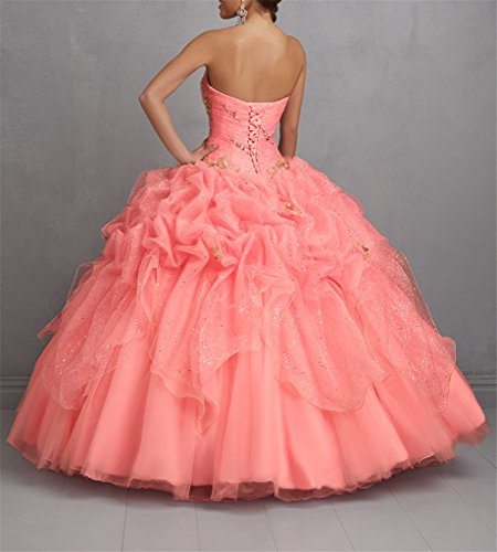 Women's Pleat Dress Ball Dance Coral Gowns Party Evening Quinceanera Dexin OZpxqZ