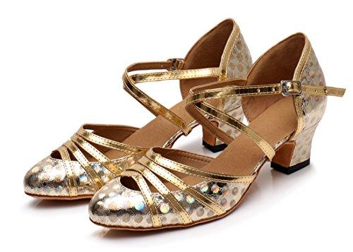 Heel 5cm Material Sandalias de Sintético MGM Gold Floral Cuña con Joymod Mujer HqxCZFP