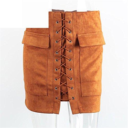 Eault Elegant Autumn lace up suede leather women skirt 90's Vintage pocket preppy short skirt Winter high waist casual skirts - Preppy 90s