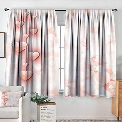 Elliot Dorothy Window Curtains Light Pink,Valentines Day Themed Composition with Cute Vivid Hearts Bokeh Effect,Light Pink White,Fashionable Illustration Customized Curtain 52