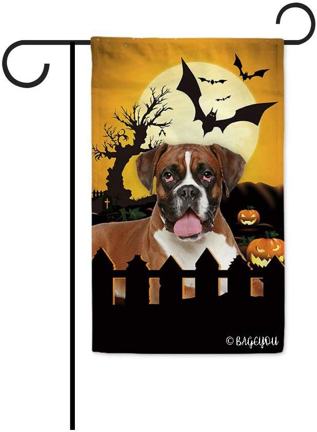 BAGEYOU Happy Halloween Jack O Lantern with My Love Dog Boxer Dog Decorative Garden Flag for Outside 12.5X18 Inch Printed Double Sided