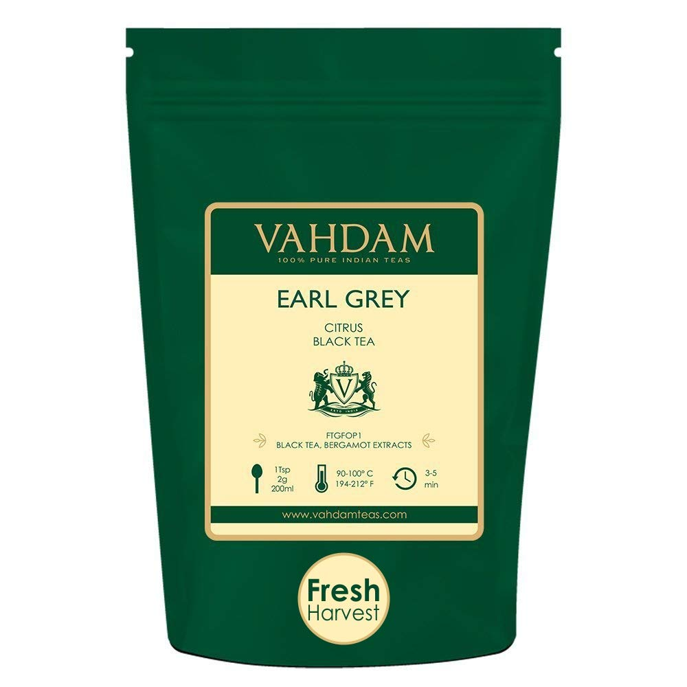VAHDAM, Earl Grey Tea Leaves (200+ Cups) CITRUSY & DELICIOUS - Brew Iced Tea or Hot Tea, Black Tea blended with 100% Natural Oil of Bergamot, NATURAL SOURCE OF ANTI-OXIDANTS, 16-ounce Bag by VAHDAM