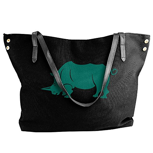 Women's Rhinoceros Shoulder Handbags Handbag Canvas Large Black Tote rwqnt4rYHX