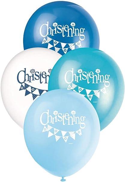 "Pack of 8 Boys Blue Christening Latex Balloons 12/"""