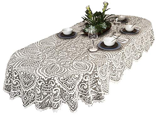 (Scarlett Lace Large Tablecloth Oval White OR Beige Premium Quality (140cm x 240cm (55