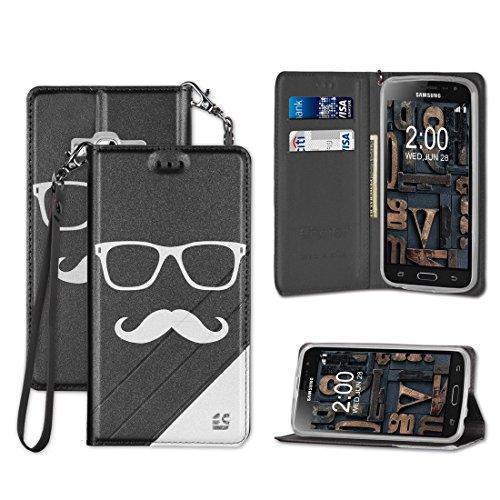 Samsung Galaxy J3 (2016) J3V SOL SKY AMP Prime Express Prime AMP Prime Express Prime Case PU Leather TPU 2 Tone Card Slot Magnetic Close Strap Kickstand Glasses & Mustache