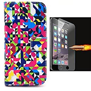 Mini - Camouflage Design PU Leather Full Body Case with Explosion-Proof Glass Film for iPhone 6 Plus