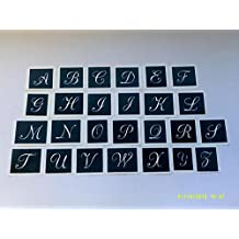 "Large Alphabet lower case letter stencils for etching glass A-Z - 50 letters mixed (1.5"" high)"