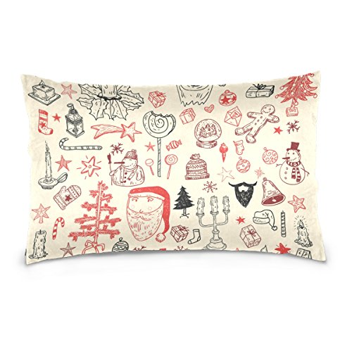 Top Carpenter Doodle Christmas Element Wallpaper Velvet Oblong Lumbar Plush Throw Pillow Cover/Shams Cushion Case - 16x24in - Decorative Invisible Zipper Design for Couch Sofa Pillowcase Only