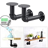 2Pcs Industrial Black Iron Pipe Shelf Bracket Wall Mounted Floating Shelf Hanging Wall Hardware Steampunk Decor for Custom Shelf Plumbing Pipe Shelf Restoration Hardware Shelf (15x10cm)-Aunifun