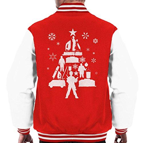 Christmas white Home White Jacket Tree Men's Red Varsity Silhouette Alone 5wzzqrO4