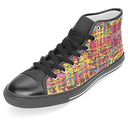 InterestPrint Women Canvas Shoes High Top Trainers Flat Shoes Lace Up Sneakers Fashion Form Colorful Abstractive Stripe Black trOKQmVYL