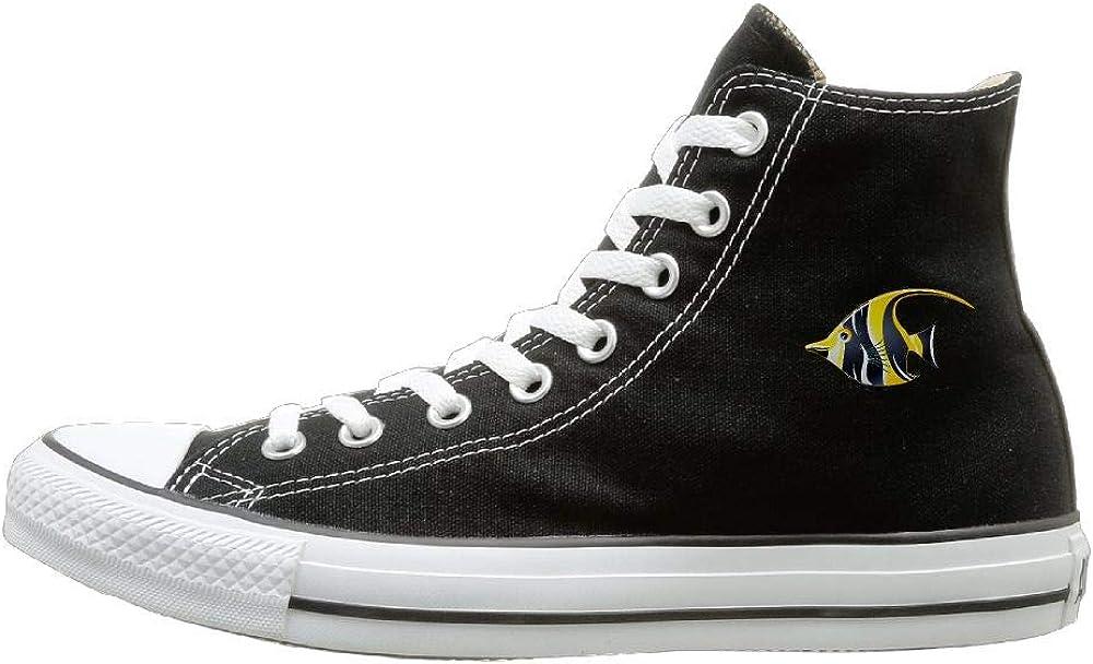 Shenigon Zebrafish Canvas Shoes High Top Sport Black Sneakers Unisex Style
