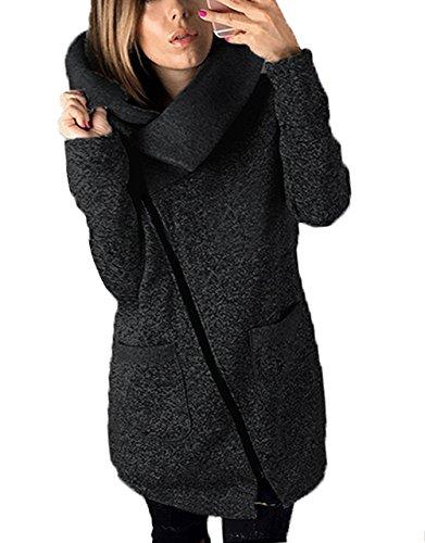 Negro Larga Abrigo Manga Mujer Para Yieune TzXanvgW