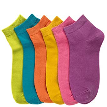 Women's (12 Pairs) Everyday Low Cut Patterned Socks -Solid Brights