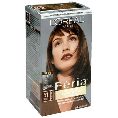 (L'Oreal Feria Multi-Faceted Shimmering Colour 3X Highlights, Level 3 Permanent, Bronzed Brown/Warmer 51 (Pack of)