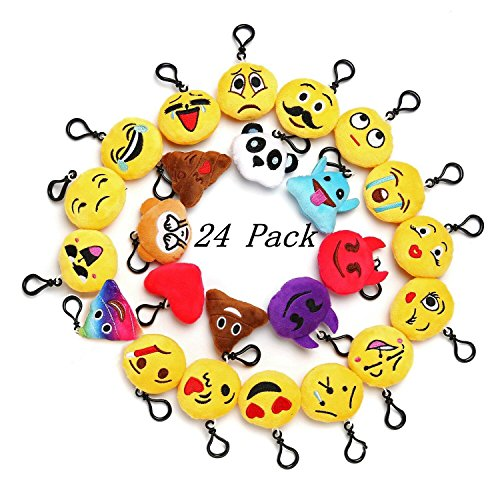 "Emoji Mini Plush Pillows for Party Decorations ,2"" Keychain Cushion Bag Fillers BirthdayToys, Kids Party Supplies Favors. Idea Gifts for Festival"