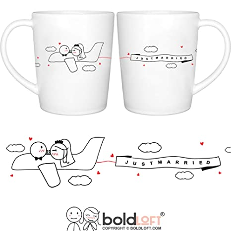 boldloft just married wedding couple coffee mugs for bride and groom just married gifts for