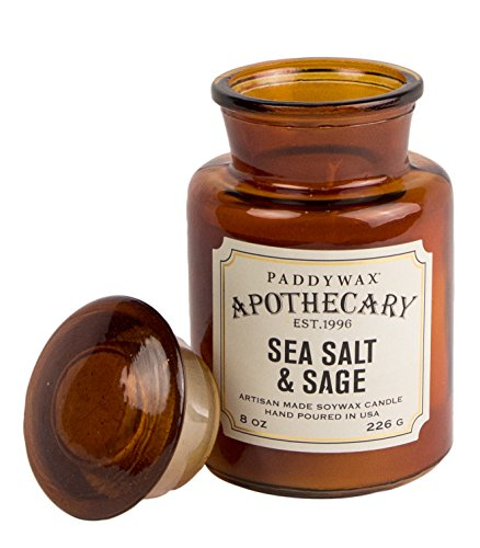 Apothecary Jar Candle - Paddywax Apothecary Collection Scented Soy Wax Jar Candle, 8-Ounce, Sage & Sea Salt