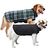 #6: MIGOHI Dog Jackets for Winter Windproof Waterproof Reversible Dog Coat for Cold Weather British Style Plaid Warm Dog Vest for Small Medium Large Dogs GREEN M