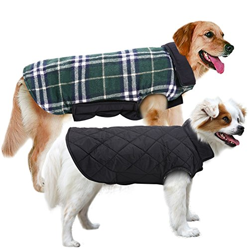 MIGOHI Dog Jackets for Winter Windproof Waterproof Reversible Dog Coat for Cold Weather British Style Plaid Warm Dog Vest for Small Medium Large Dogs Green XXL ()