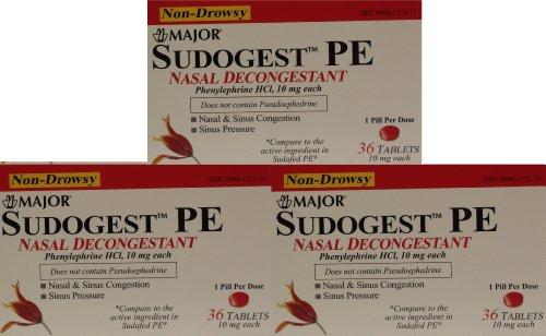 Sudogest PE générique pour Sudafed PE décongestionnant nasal phényléphrine HCl 10mg Comprimés 108-count 3 Paquet de 36-comte