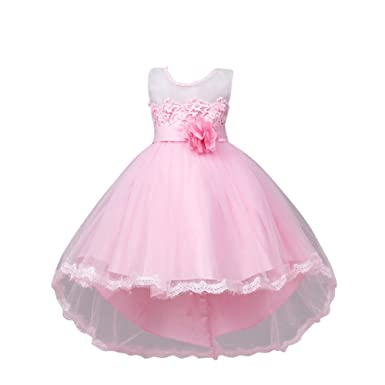 ZAMME Girls Party Dress Christmas Formal Flower Dresses Junior Girls Prom Gown Fresses