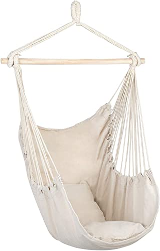 Lucky Link Hanging Rope Hammock Chair Swing Seat with 2 Seat Cushions for Indoor Outdoor Yard Bedroom Patio Porch, Max 250 Lbs, Rainbow Stripes Beige