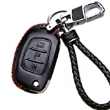WAFERN Leather Car Key Fob Holder Case Cover Etui Protective Shell with Braided Key Chain & Key Rings for 3 Buttons Folding Flip Remote Hyundai Santa FE(IX45) Auto Accessories Gift in Black